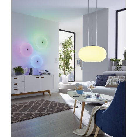 91382 Lámpara LED vidrio GALAXIA 2xE2718W colgante opal EGLO 29HIWED