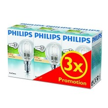 KIT 3x Bombilla halógena regulable Philips E14/18W/230V
