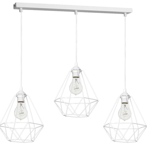 Lámpara colgante BASKET 3xE27/60W/230V blanco