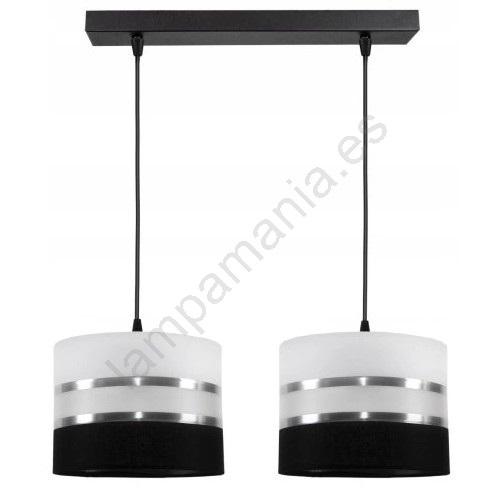 Lámpara colgante CORAL 2xE2760W230V negro blanco