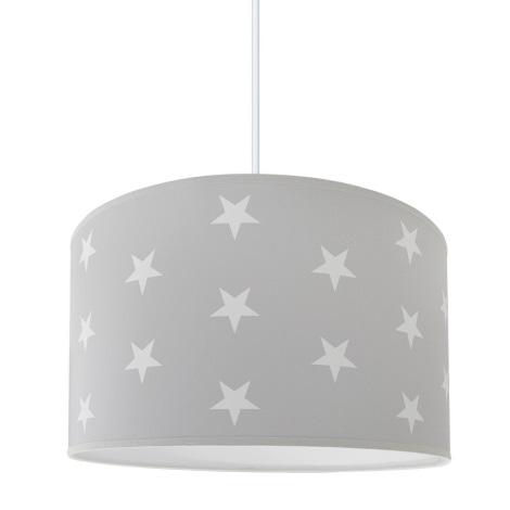 Lámpara colgante infantil STARS GREY 1xE27/60W/230V
