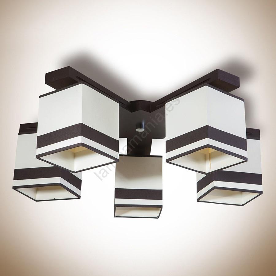 Lámpara GRANADA 5xE2760W230V de marrón techo qVGLUMSpz