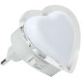 Luz de noche LED enchufable LED/0,4W/230V corazón blanco