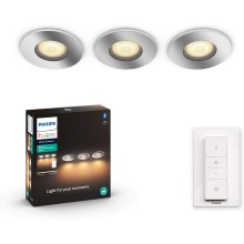 Philips - SET 3x LED Lámpara regulable para el baño 3xGU10/5W/230V IP44 + control remoto