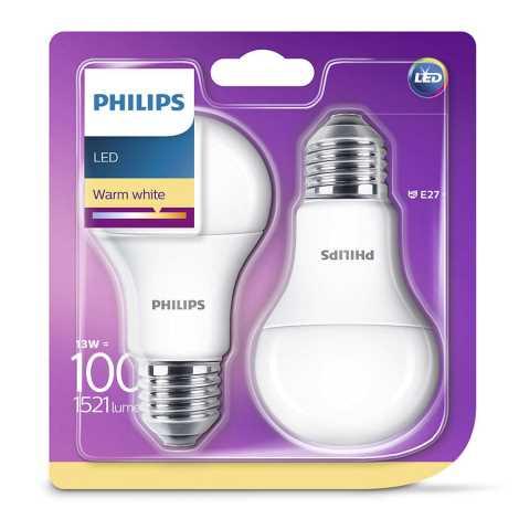 SET 2x Bombilla LED Philips E27/13W/230V