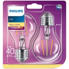 SET 2x Bombilla LED Philips E27/4,3W/230V 2700K