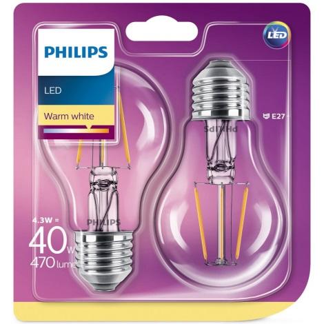 SET 2x Bombilla LED Philips E27/4,3W/230V 2700K