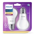 SET 2x Bombilla LED Philips E27/8W/230V 2700K