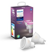 SET 2x LED Bombilla regulable Philips WHITE AND COLOR AMBIANCE GU10/5,7W/230V 2000-6500K