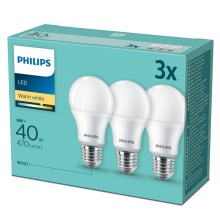 SET 3x Bombilla LED Philips E27/6W/230V 2700K