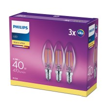 Set 3x Bombillas LED Philips E14/4,3W/230V 2700K